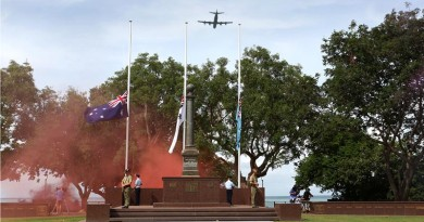 A P3 Orion from No 92 Wing, RAAF Base Darwin, conducts a fly over of the cenotaph during the 73rd anniversary of the Bombing of Darwin memorial service. Photo by Leading Seaman James Whittle