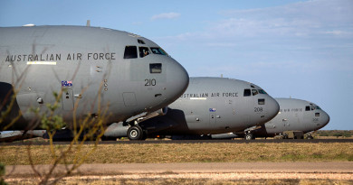 Royal Australian Air Force C-17 Globemasters at RAAF Base Learmonth during Exercise Northern Shield 2015. Photo by Corporal Janine Fabre