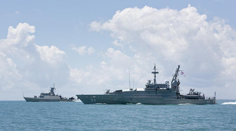 Armidale Class Patrol Boat HMAS Wollongong sails in-company with Indonesian Naval vessel KRI Samapri, before entering Darwin Harbour on conclusion of Exercise Cassowary. Photo by Able Seaman Kayla Hayes