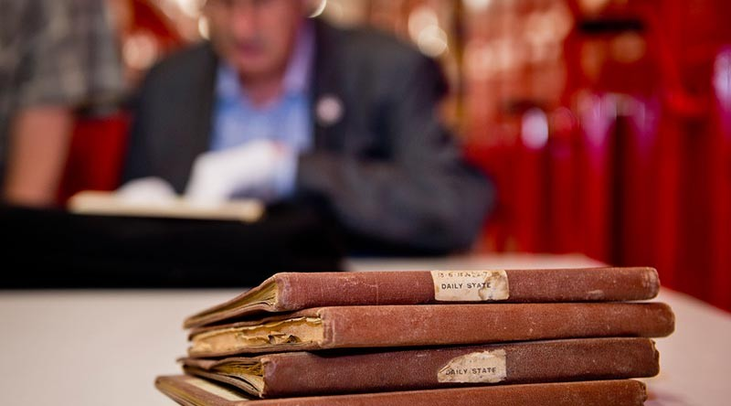 The discovery of historic the notebooks of the Deputy Assistant Adjutant General from World War One. The notebook discovery was part of one of the most comprehensive research projects to confirm the number of New Zealand soldiers at Gallipoli. John Crawford with the notebooks.