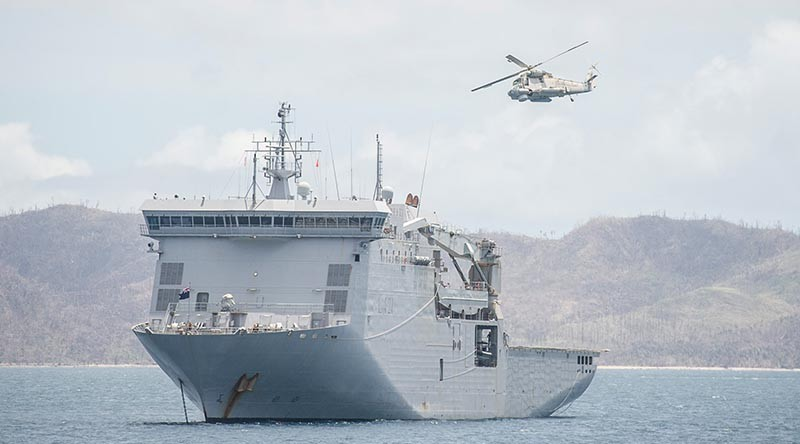 A Seasprite helicopter from HMNZS Canterbury operates in the islands of the Northern Lau Group.NZDF photo