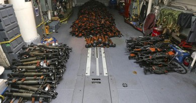 Weapons seized by HMAS Darwin from a small-arms smuggler boarded approximately 170 nautical miles off the coast of Oman.