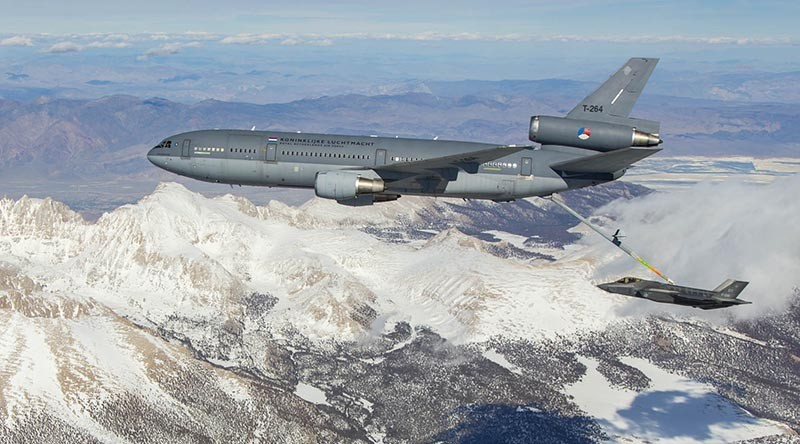 EDWARDS AIR FORCE BASE, Calif. -- Photos of Royal Netherland's Air Force KDC-10 tanker and F-35 Joint Strike Fighter conducting aerial refueling tests above Mount Whitney, Owens Valley, and the Western Mojave Desert in Southern California, March 31, 2016. U.S. Air Force photo by Chris Okula