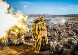 Soldiers from 5RAR fire an M3 Carl Gustav during Exercise Predator's Gallop at Cultana. Photo by Corporal Nunu Campos