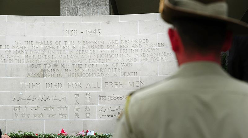 A soldier from Australia's Federation Guard at Kranji War Cemetery in Singapore. Photo by Corporal Melina Mancuso