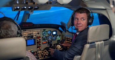 Mike Baird in a King Air simulator at Elbit Systems facility in Israel.