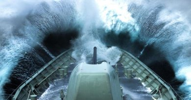 HMAS Arunta plows into a wave off the coast of Victoria. Photo by Able Seaman Tom Gibson