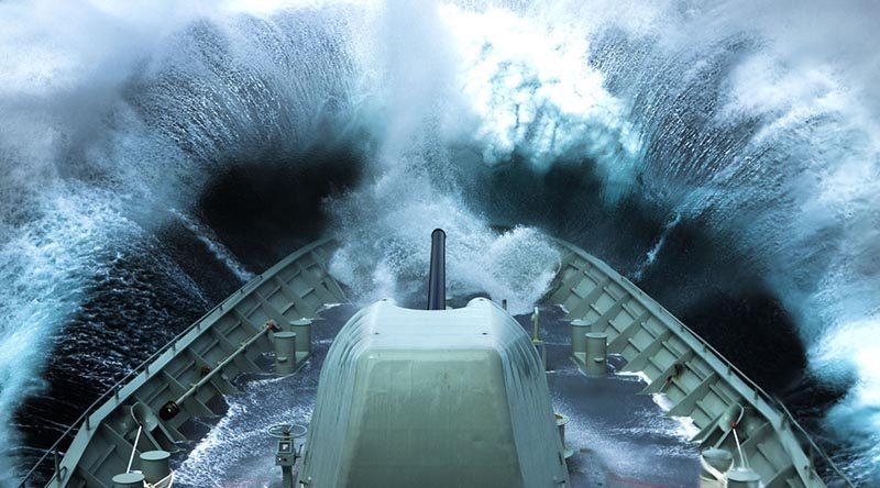 HMAS Arunta plows into a wave off the coast of Victoria. Photo by Able Seaman Tom Gibson