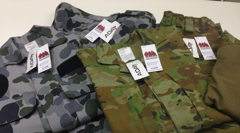 Soldier On swing tags on ADA-produced uniforms.