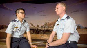 Cadet Under Officer Victor Low and his escortescort Flight Lieutenant (AAFC) Nick Dodd, at the Australian War Memorial in Canberra. FLTLT(AAFC) Dodd's great uncle lost his life at Gallipoli.