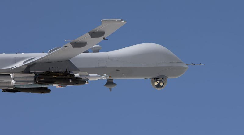 AN/DAS-4 EO/IR turret deployed on the MQ-9 Reaper. (PRNewsFoto/Raytheon Company)