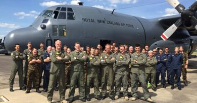 The 40 Squadron contingent in front of the C-130 Hercules, with support personnel in the back (maintenance, mission planning team, observers, intelligence, and air load team).