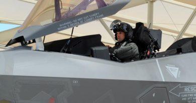 Australia's third F-35A pilot Flight Lieutenant Edwin Borrman undertakes his first flight in in a F-35A aircraft.