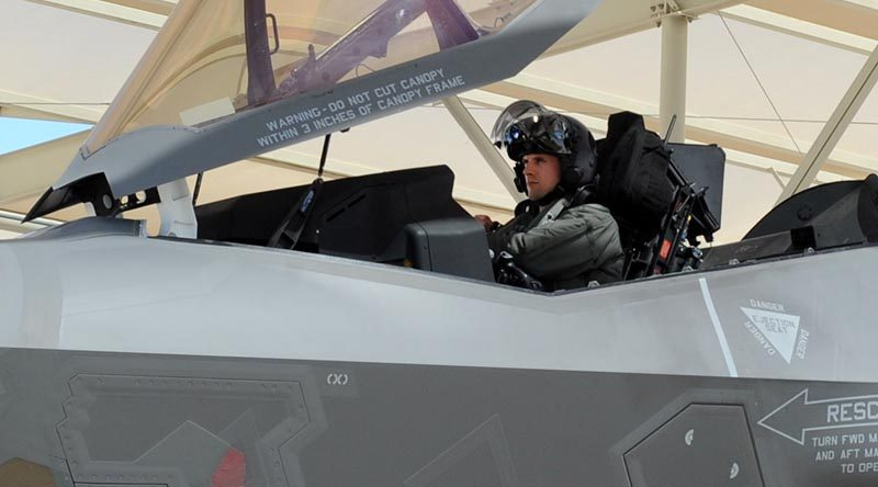 Australia's third F-35A pilot Flight Lieutenant Edwin Borrman undertakes his first flight in in a F-35A aircraft.
