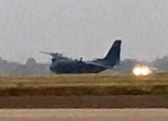 10KWTX news in Waco published this 'courtesy photo' of the Aussie C-27J disabled on the runway