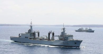 ESPS Cantabria (foreground) in company with HMAS Success off Sydney after the Spanish tanker joined the Royal Australian Navy in 2013. Photo by Leading Seaman Peter Thompson