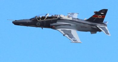 A No 76 Squadron Hawk-127 conducts an aerial display at RAAF Base Williamtown. Photo by Corporal Craig Barrett