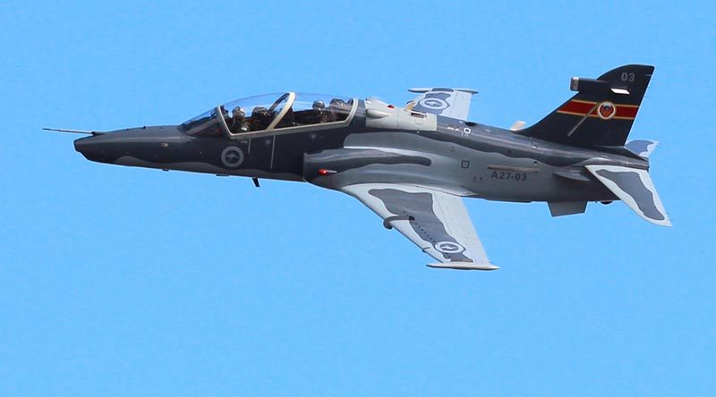 A No 76 Squadron Hawk-127 conducts an aerial display at RAAF Base Williamtown. Photo by Corporal Craig Barrett