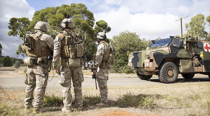 New Zealand Army soldiers provide force protection during the mission rehearsal exercise for Task Group Taji 3 at RAAF Base Edinburgh. NZDF photo.