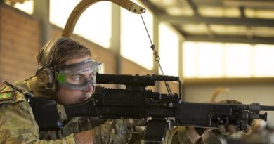 Corporal Paul Hayes, 6RAR, trials the Reaper weapon carriage system. Photo by Corporal Janine Fabre