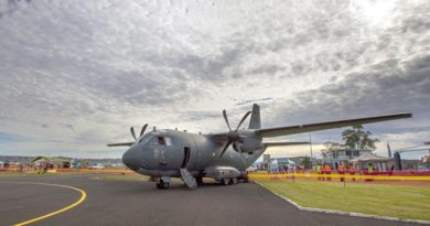 A C-27J Spartan battlefield air lifter on display at Bathurst Airport during Lifeline's Soar, Ride and Shine event on 15 May. Photo by Corporal Oliver Carter