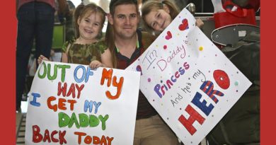 An Australian Army soldier is greeted by loved ones at Brisbane International Airport on 9 June 2016 after returning from a six-month deployment to the Taji Military Complex in Iraq as part of Operation Okra.