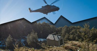 The Department of Conservation working alongside 5 Movements Company, New Zealand Army, and 3 Sqn, Royal New Zealand Air Force to shift Fell Hut, in the Richmond Ranges to a new site. The hut required moving as it was sitting on a slow moving landslip. 5 Moves company worked alongside DOC to prepare the hut for the shift, which occured by being slung under the NH90 Helicopter.