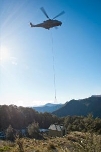 New Zealand's Department of Conservation, the New Zealand Army's 5 Movements Company, and 3 Sqn, Royal New Zealand Air Force move Fell Hut, in the Richmond Ranges to a new site.