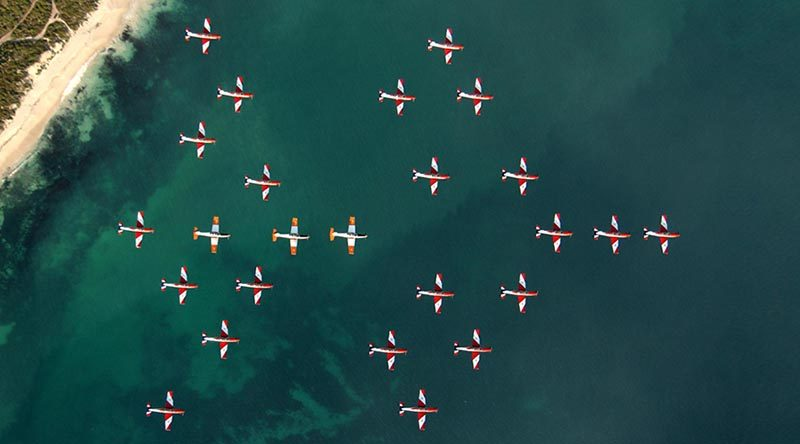 File photo - 2FTS perform a 26-aircraft thunderbird formation during a pilot-course graduation. Photographer unknown