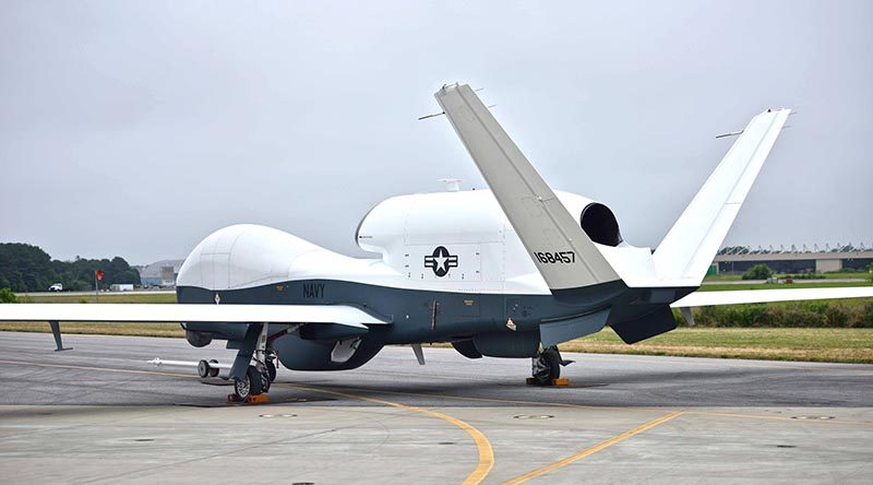 A Northrop Grumman MQ-4C Triton prepares for a flight test in June 2016 at Naval Air Station Patuxent River, Md. During two recent tests, the unmanned air system completed its first heavy weight flight and demonstrated its ability to communicate with the P-8 aircraft while airborne. (U.S. Navy photo)