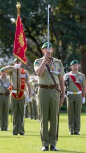 Commanding Officer of 1st Commando Regiment Lieutenant Colonel M salutes during the Regiment's 60th Anniversary Parade at Victoria Barracks, Sydney. Photo by Corporal Kyle Genner