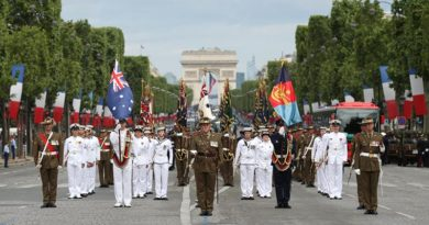 The Australian Defence Force contingent marches down the Avenue des Champs-Élysées in Paris to commemorate the French National Day, on 14 July 2016. Photo by Sergeant Janine Fabre