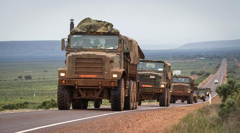 United States Marine Corps personnel embedded with the Australian Army's 1st Brigade conduct a road move during Exercise Hamel in Cultana training area, South Australia. Photo by Corporal Nunu Campos