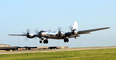 A B-29 Superfortress, known as 'Doc,' takes off for the first time in 60 years, in 17 July 2016, at McConnell Air Force Base, Kansas. US Air Force photo by Airman 1st Class Jenna K. Caldwell