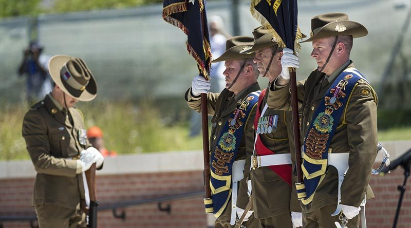 Australian Army soldiers from 31st/42nd Battalion, Royal Queensland Regiment, at the service at Pheasant Wood Military Cemetery on 19 July 2016. Photo by Sergeant Janine Fabre