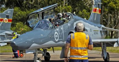 BAE Systems Technician Michael Hickey, communicates with BAE Systems test pilot, Andy Blythe (front Seat) and No 78 Wing test pilot Squadron Leader Michael Physick before their first flight in a modified Hawk-127. Photo by Darren Mottram