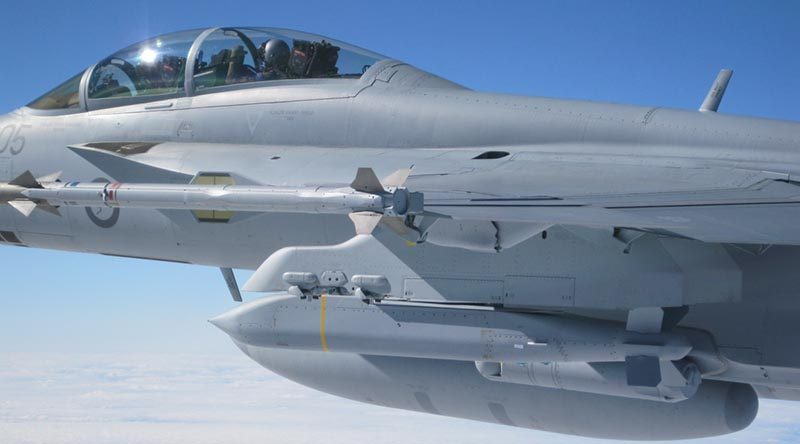 An RAAF Super Hornet carrying AGM-154C Joint Standoff Weapon. Photo by Squadron Leader Ben Nunan