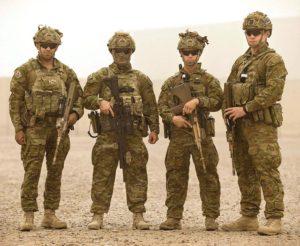 Private Jermaine Stuart (left) and his colleagues, Private Corey Bidart, Corporal Samuel Bruce and Private Sean Birkett, in Iraq.