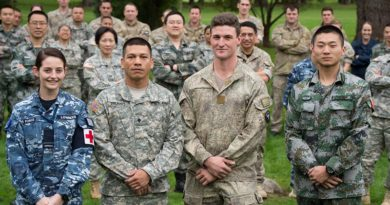 Tropic Twilight 2016 - Left to Right: Flying Officer Chloe Lowndes RAAF, SPC Hustin TRUSSO, USA Guam Army, SPR Jared HUMPHRIES, NZ Army and Cadet LUI Jian Bang, China. are part of combined New Zealand, US, Chinese and Australian military personnel are heading to Tonga for Exercise Tropic Twilight to help build much needed infrastructure on outlying Islands.