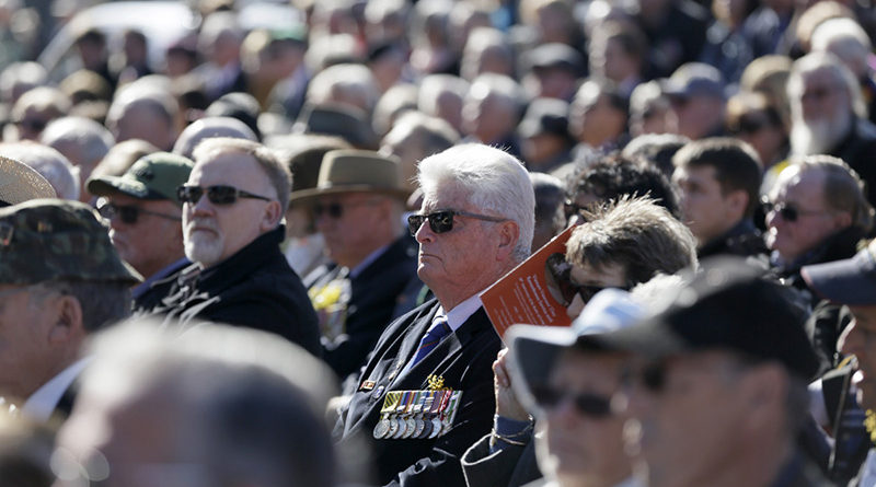 Some of the hundreds of attendees at the Vietnam Veteran's Day service on Anzac Parade.