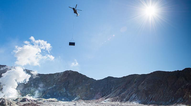 An NH90 helicopter from the Royal New Zealand Air Force's 3 Squadron yesterday lifted a 2.4-tonne shipping container to volcanic White Island near Whakatane, to provide visitors an emergency shelter in case of an eruption.