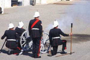 The cadets witnessed the firing of the 2-pounder cannon.