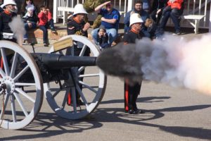 The 16-pounder Mk1 cannon is fired.