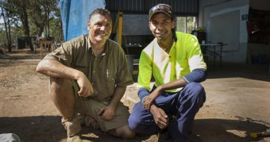 Australian Army plumber Corporal Terry Walker (left), who is an Indigenous liaison officer for the Army Aboriginal Community Assistance Programme in Laura, northern Queensland, is working with local Mr Kendall Bowen to mentor and pass on his skills. Photo by Sergeant Janine Fabre