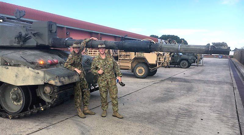 Cadet Warrant Officer Class 2 Brody Hornett and Cadet Lance Corporal Jayden Butler meet the Challenger 2 main battle tank of the British Army.