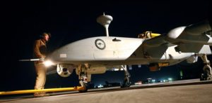 Heron UAV on the flightline at Kandahar. Photo by Brian Hartigan