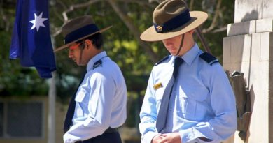 Cadet Corporal Suyash Jain and Cadet Byron Barnes-Williams (604 Squadron) at the West Torrens War Memorial in Adelaide