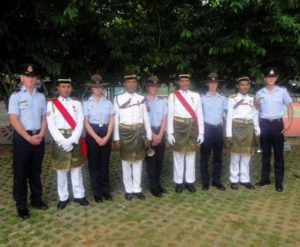 The 6 Wing catafalque party with members of the Malaysian Army Band, in the Sarawak Hero's Memorial Park in Kuching on 29 August 2016 (left to right): CUO Aaron Musk, Cadet Corporal Britney Shorter and Cadet Byron Barnes-Williams (604 Squadron); Cadet Flight-Sergeant Lachlan Bruce (602 Squadron) and Cadet Warrant Officer Jack Lemar (622 Squadron).