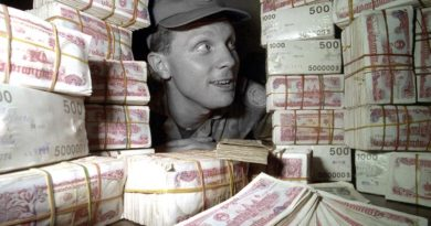 Corporal Mark Bruty from Newcastle, NSW, ponders just how to move the latest cash instalment - 11,000,000 reil (or US 10,000) - from the Cambodian bank to the Australian Contingent's Phnom Peng Cash Office. Corporal Bruty is in Cambodia as a finance Clerk with the Contingent. Photo by Corporal Wayne Ryan
