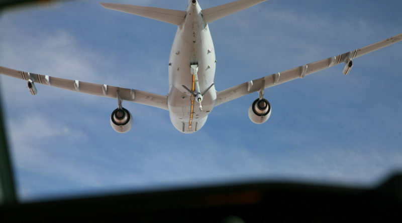 A RAAF KC-30A multi-role tanker transport as seen from an aircraft about to be refuelled. Photo by Major Cameron Jamieson.